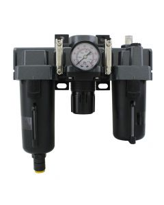 """FRL Air Filter, Regulator, and Lubricator System - 3/8"""" NPT - Metal Bowl, Automatic Float"""