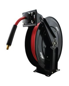 "Milton 2760-50D - Steel Dual Arm Auto-Retractable Air Hose Reel, 3/8"" x 50 ft. Rubber Hose - 300 Max PSI"