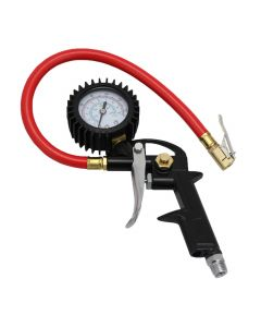 "EXELAIR™ Analog Pistol Grip Tire Inflator/Deflator Gauge - 13"" Air Hose and Easy-Clip Chuck"