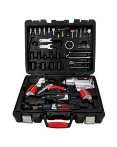 EXELAIR™ (50-Piece Professional Air Tool Accessory Kit) - Impact Wrench, Air Ratchet, Die Grinder, Blow Gun, Air Hammer, Dual Air Chuck, Tire Gauge, and Accessories