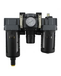 """FRL Air Filter, Regulator, and Lubricator System - 1/4"""" NPT - Polycarbonate Bowl, Automatic Float"""