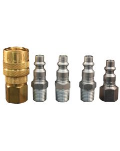 "1/4"" NPT M-Style Coupler and Plug Kit, (5-Piece)"