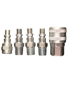 "1/4"" NPT A-Style Coupler and Plug Kit, (5-Piece)"