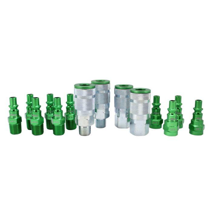 Coupler Plug Kit 14 Pcs A-Style Scratch Resistant Steel Air Tool Fitting Green