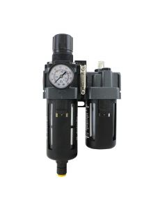 "FRL (Piggyback) Air Filter & Regulator w/Lubricator - 1/4"" NPT - Polycarbonate Bowl, Automatic Float"