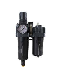 "FRL (Piggyback) Air Filter & Regulator w/Lubricator - 1/2"" NPT - Metal Bowl, Automatic Float"