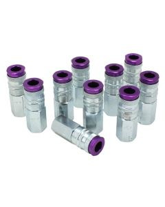 "ColorFit by Milton HIGHFLOWPRO™ Couplers (V-Style, Purple) - 1/4"" NPT, (Box of 10)"