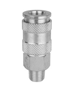"""Milton 765ST 1/4"""" MNPT High Flow (V-Style) Quick-Connect Steel Coupler - Box of 10"""