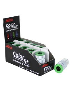 "ColorFit by Milton Couplers (A-style, Green) - 1/4"" NPT Female, (Box of 10)"