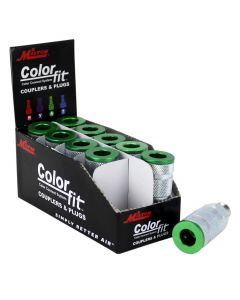 "ColorFit by Milton Couplers (A-style, Green) - 1/4"" NPT Male, (Box of 10)"