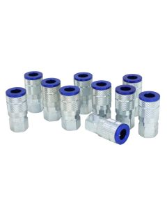 "ColorFit Pneumatic Couplers - (T-style, Blue) - 1/4"" NPT, (Box of 10)"