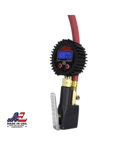 "Compact Digital Tire Inflator with Pressure Gauge (255 PSI) - Air Chuck & 15"" Rubber Air hose – 1/4"" NPT"