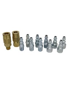 "EXELAIR™ by Milton EX0312MKIT - Air Coupler and Plug Accessory Kit - 1/4"" M-Style Brass Couplers and 1/4"" M-Style Steel Plugs - (12-Piece)"