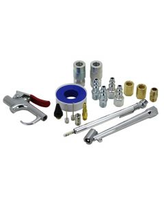 EXELAIR™ by Milton EX0318BKIT - Blow Gun and Air Accessory Kit - Safety adapter, Nozzle Tips, Inflator Needles, Dual Head Chuck, Pencil Gauge, M-Style Couplers/Plugs, Hex Nipple/Couplings, and Thread Tape - 150 Max PSI, (18-Piece)