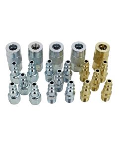 "EXELAIR™ by Milton Air Coupler and Plug Accessory Kit - 1/4"" M-Style Steel/Brass Couplers and 1/4"" M-Style Steel/Brass Plugs - (20-Piece)"