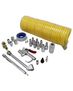 EXELAIR™ by Milton Recoil Hose and Air Accessory Kit - 25' Recoil Hose, Blow Gun, 2 Chucks, Pencil Gauge, M-Style Couplers/Plugs, Safety Adapter, Nozzle Tips, Inflator Needle, Hex Nipples/Couplings, and Thread Tape - 150 Max PSI, (25-Piece)