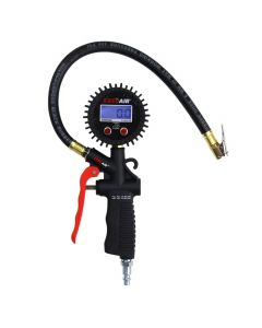 "EXELAIR™ Digital Pistol Grip Tire Inflator/Deflator Gauge - 16"" Air Hose and Easy-Clip Chuck"