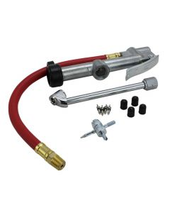 "EXELAIR™ Analog Tire Inflator Gauge Kit - 13"" Air Hose, Dual Foot Chuck, and Tire Valve Accessories - 120 PSI"
