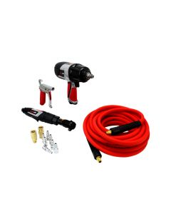EXELAIR™ Bundle: Impact Wrench, Air Ratchet, Blow Gun, 25' Cobra Flex Air Hose & Coupler/Plug Air Accessories, (16-Piece)