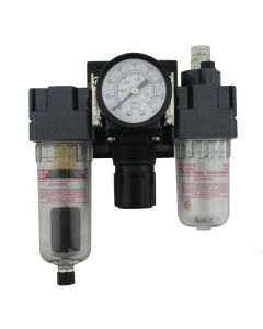 """FRL (Mini) Air Filter, Regulator, and Lubricator System - 1/4"""" NPT - Polycarbonate Bowl, Automatic Float (EX25FRL40A-02P)"""