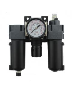 "FRL (Mini) Air Filter, Regulator, and Lubricator System - 1/4"" NPT - Metal Bowl, Automatic Float"