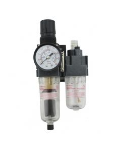 "FRL (Mini/Piggyback) Air Filter & Regulator w/Lubricator - 1/8"" NPT - Polycarbonate bowl, Automatic Float"