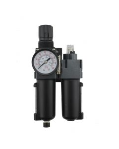 "FRL (Mini/Piggyback) Air Filter & Regulator w/Lubricator - 1/4"" NPT - Metal Bowl, Automatic Float"