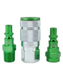 "ColorFit by Milton Coupler & Plug Kit- (A-Style, Green) - 1/4"" NPT, (3-Piece)"