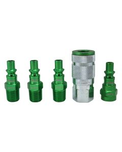 "ColorFit by Milton Coupler & Plug Kit - (A-Style, Green) - 1/4"" NPT, (5-Piece)"