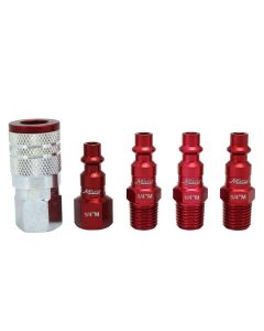 "ColorFit by Milton Coupler & Plug Kit - (M-Style, Red) - 1/4"" NPT, (5-Piece)"