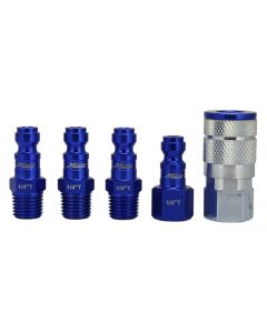 "ColorFit by Milton Coupler & Plug Kit - (T-Style, Blue) - 1/4"" NPT, (5-Piece)"