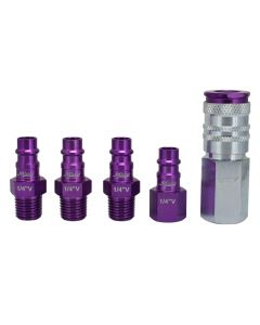 "ColorFit by Milton HIGHFLOWPRO™ Coupler & Plug Kit - (V-Style, Purple) - 1/4"" NPT, (5-Piece)"