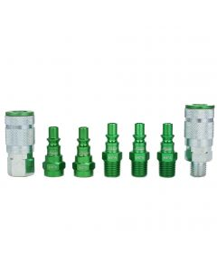 "ColorFit by Milton Coupler & Plug Kit - (A-Style, Green) - 1/4"" NPT, (7-Piece)"
