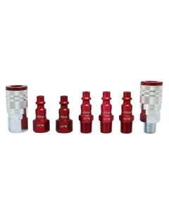 "ColorFit by Milton Coupler & Plug Kit - (M-Style, Red) - 1/4"" NPT, (7-Piece)"