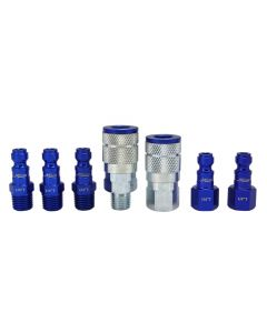 "ColorFit by Milton Coupler & Plug Kit - (T-Style, Blue) - 1/4"" NPT, (7-Piece)"