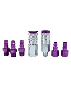 "ColorFit by Milton HIGHFLOWPRO™ Coupler & Plug Kit - (V-Style, Purple) - 1/4"" NPT, (7-Piece)"