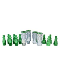 "ColorFit by Milton Coupler & Plug Kit - (A-Style, Green) - 1/4"" NPT, (14-Piece)"