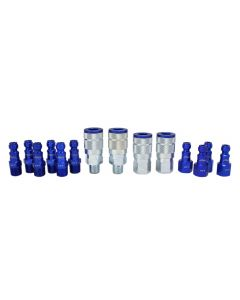 "ColorFit by Milton Coupler & Plug Kit - (T-Style, Blue) - 1/4"" NPT, (14-Piece)"