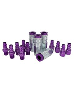 "ColorFit by Milton HIGHFLOWPRO™ Coupler & Plug Kit  (V-Style, Purple) - 1/4"" NPT, (14-Piece)"