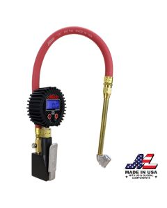 "Compact Digital Tire Inflator with Pressure Gauge (255 PSI) - Air Chuck & 15"" Rubber Air hose – 1/4"" NPT-Dual Head air chuck"