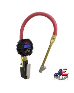 "Compact Digital Tire Inflator with Pressure Gauge (255 PSI) - Air Chuck & 15"" Rubber Air hose – 1/4"" NPT-Dual Head Straight Foot air chuck"