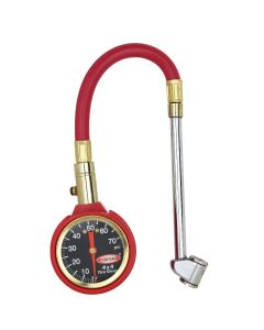 Accu-Gage by Milton Dial Tire Pressure Gauge with Dual Foot Air Chuck and 11 in. Rubber Hose - ANSI Certified for Motorcycle/Car/Truck Tires (0-75 PSI)