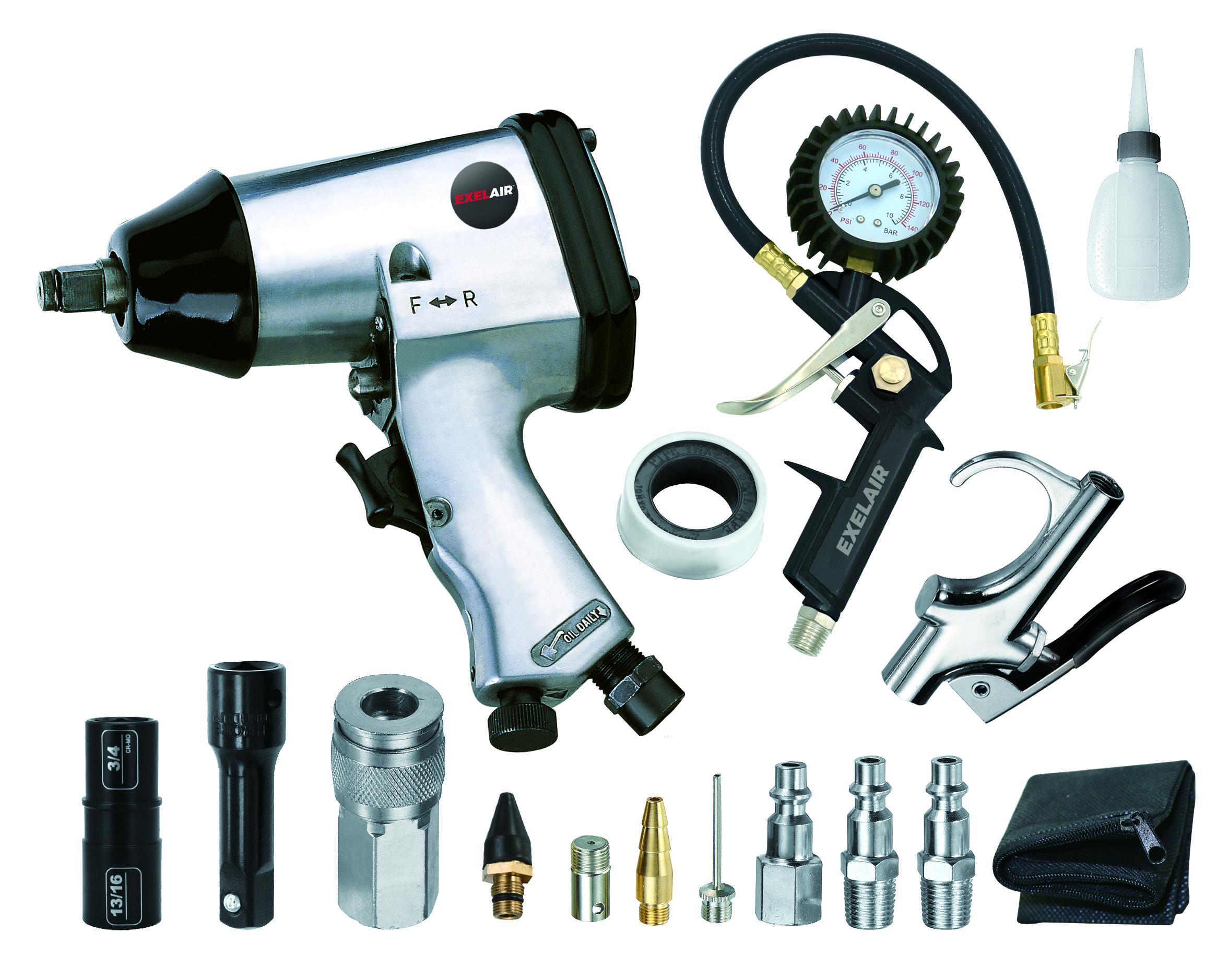 Exelair 16 Piece Professional Air Tool Accessory And Home Auto Tire Maintenance Kit Impact Wrench Inflator Gauge Gun W Clip On Chuck